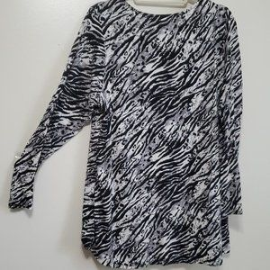 Avenue Tops - Women's Plus Zebra Print Criss Cross Neck Jersey B